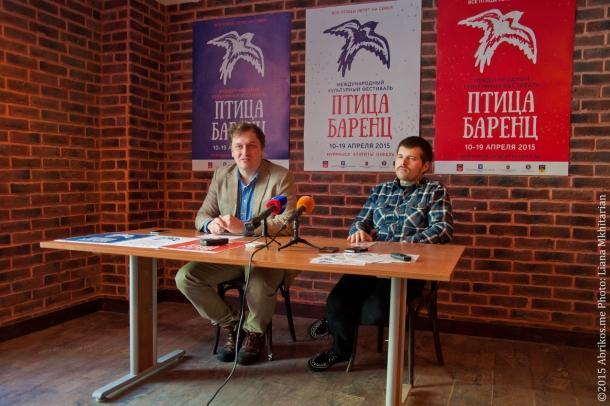 Евгений Гоман и Антон Шамшин на открытии фестивального офиса