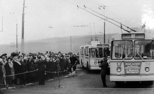 Пуск первого троллейбуса в Мурманске